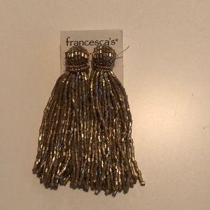 Francesca's Gold Fringe Beaded Earrings